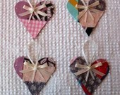 Heart Junk Journal Tags Upcycled from Cutter Quilt Remnant & Wallpaper AA83
