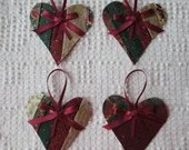 Heart Junk Journal Tags Upcycled from Cutter Quilt Remnant & Wallpaper AB00