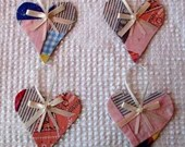 Heart Junk Journal Tags Upcycled from Cutter Quilt Remnant & Wallpaper AA85