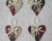 Heart Junk Journal Tags Upcycled from Cutter Quilt Remnant & Wallpaper AB01