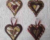 Heart Junk Journal Tags Embellishments Upcycled Fabric and Wallpaper Samples AB20