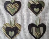 Heart Junk Journal Tags Embellishments Upcycled Fabric Wallpaper Samples AB23