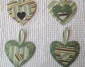 Heart Junk Journal Tags Embellishments Upcycled Fabric Wallpaper Samples AB22