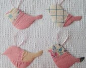 Bird Junk Journal Tags Upcycled from Cutter Quilt Remnant & Wallpaper AA89