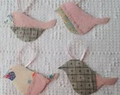 Bird Junk Journal Tags Upcycled from Cutter Quilt Remnant & Wallpaper AA90