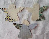 Angel Junk Journal Tags Upcycled from Cutter Quilt Remnant & Wallpaper AA97