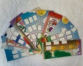 Bundle Game Board Cardboard Cutouts - 10 Pieces - Doublesided - Junk Journals, Mixed Media, Altered Art - EA19