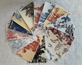 Bundle Fabric Sample Cards - 15 Pieces - Toile Designs - Junk Journals, Mixed Media, Cardmaking - EA22
