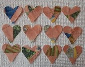 Heart Iron On Sew On Appliques, Upcycled Modern Quilt Blocks, Set of 12  AC13