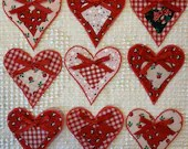 Christmas Holiday - Heart Junk Journal Tags - Set of 9 - Upcycled from Fabric Remnants & Card Stock - Red Green White - AD11