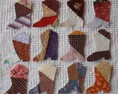 Cowboy Boots Iron On Sew On Appliques Vintage 1970s/80s Calico Quilt Blocks Set of 12 AC22