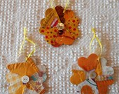 Flower Junk Journal Tags Upcycled from Cutter Quilt Remnant & Wallpaper AB99