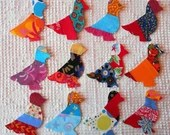 Birds IronOn SewOn Appliques Upcycled Modern Quilt Blocks, Set of 12 AB28