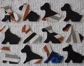 Dog IronOn SewOn Appliques Upcycled Vintage Quilt Blocks, Set of 12  AC08
