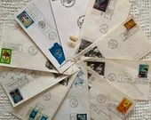 Bundle of 10 Vintage 1960s/70s Envelopes - United Nations First Day of Issue Stamps - Junk Journals, Scrapbooks, Ephemera, Collage - EA22