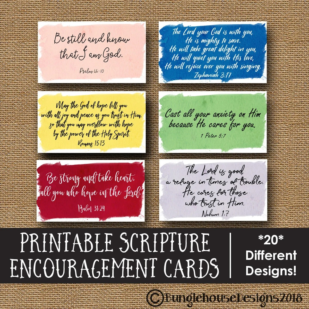 Bible Verse Encouragement Cards Printable Scripture Memory