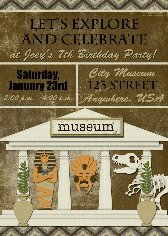 Museum Geburtstagsparty Einladung Etsy