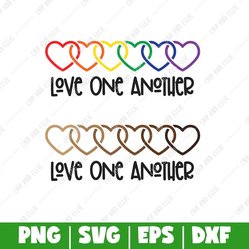 Download Love One Another PNG DXF SVG Cut File Digital File T-Shirt ...