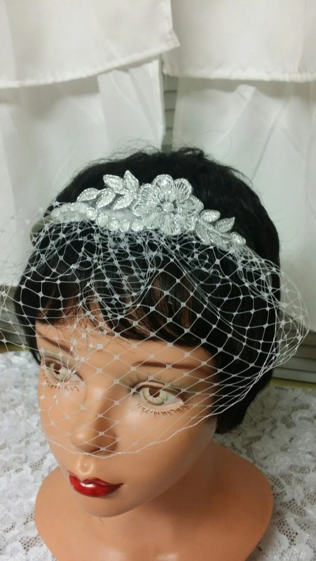brides short veil headband,destination weddings headband,classic,silver headband,first communion,confirmation,traditional, headpiece