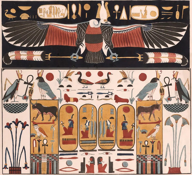 Ancient Egyptian Art Reproduction: Vulture, Wall Painting from the Tomb of Psammuthis