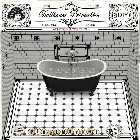 dollhouse flooring art deco bathroom 1 12 scale black white etsy