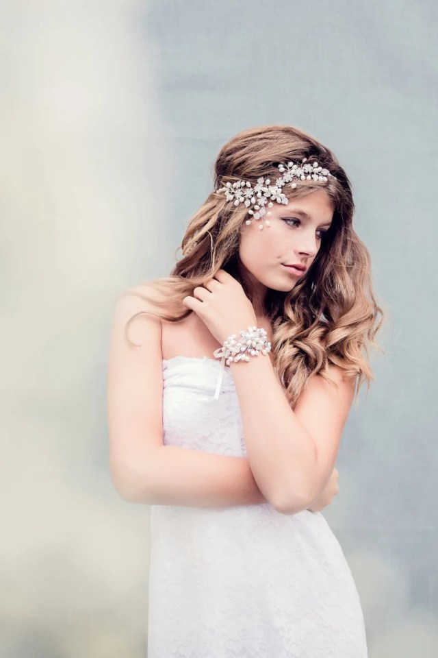 bohemian bridal hair accessories, bridal hair jewelry, crystal bridal headpiece, the scheherazade couture headpiece #174