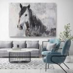 Gorgeous Dark Horse Horse Painting Gray Horse Art Horse Decor Painting Horse Wall Art Animal Art Large Canvas Print Horse Art
