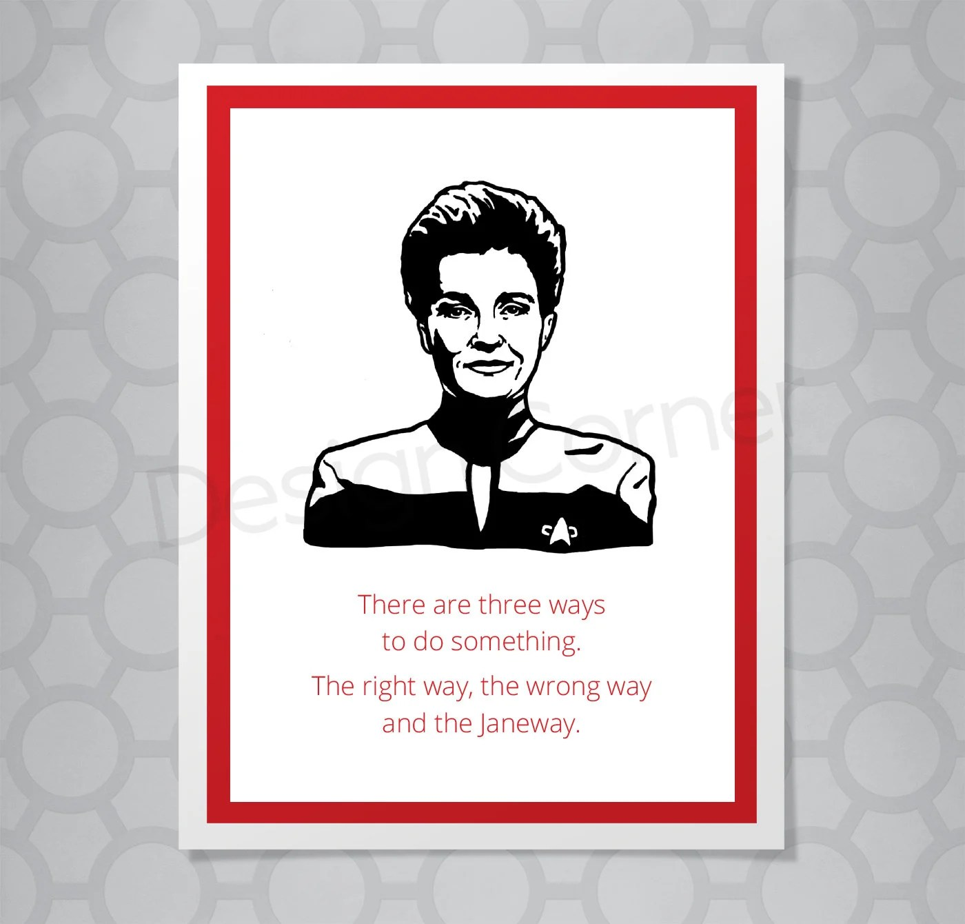 Star Trek Voyager Janeway All Occasion Funny Illustrated Card Etsy