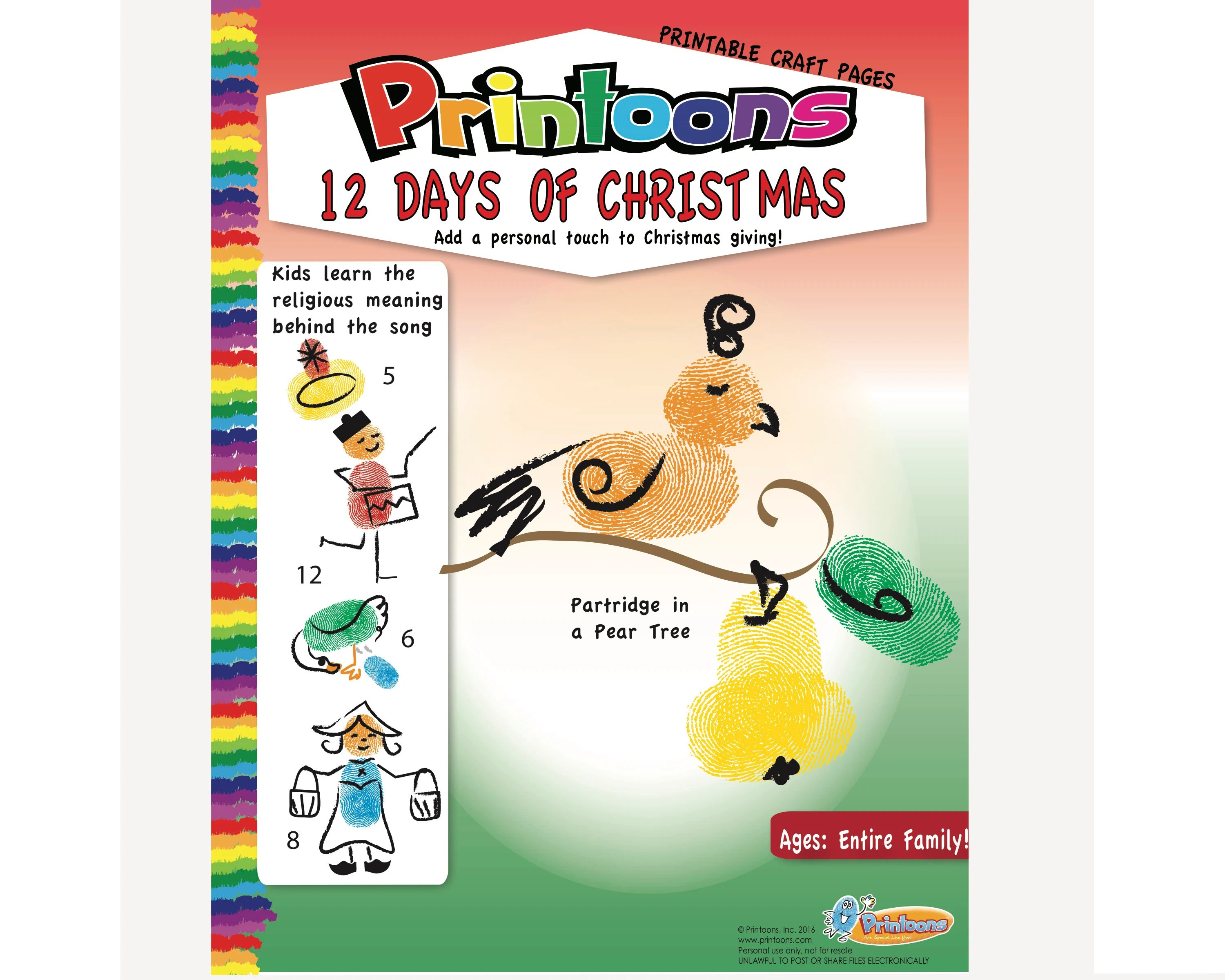 Christmas 12 Days Fingerprint Art Religious Christmas Diy