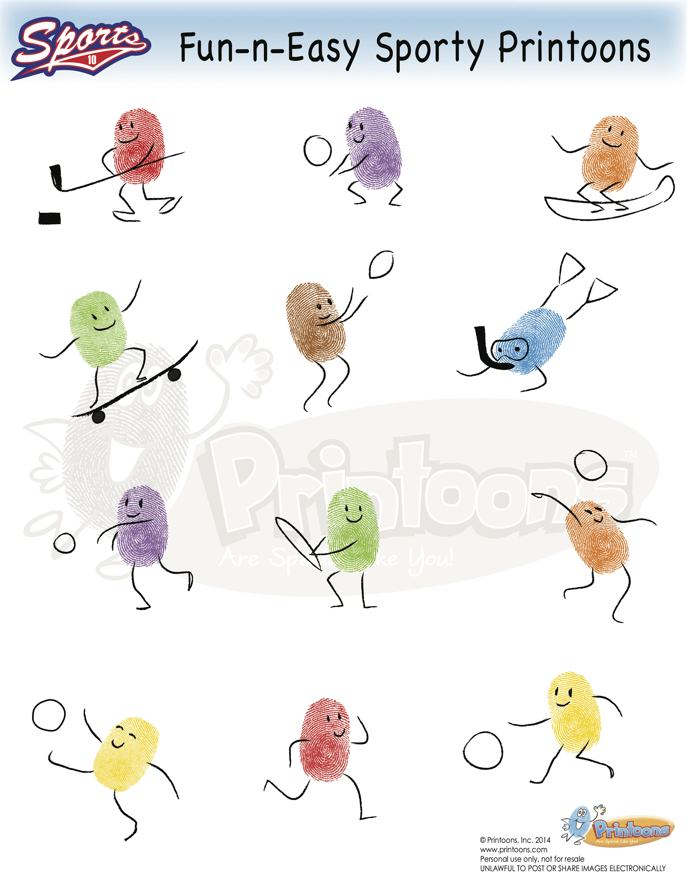 Sports Learning Thumbprint Art Preschool Worksheets Home