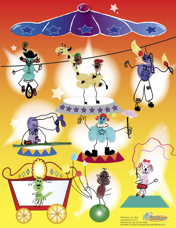 Circus 3d Playset Fingerprint Art Circus Fun Diy Circus
