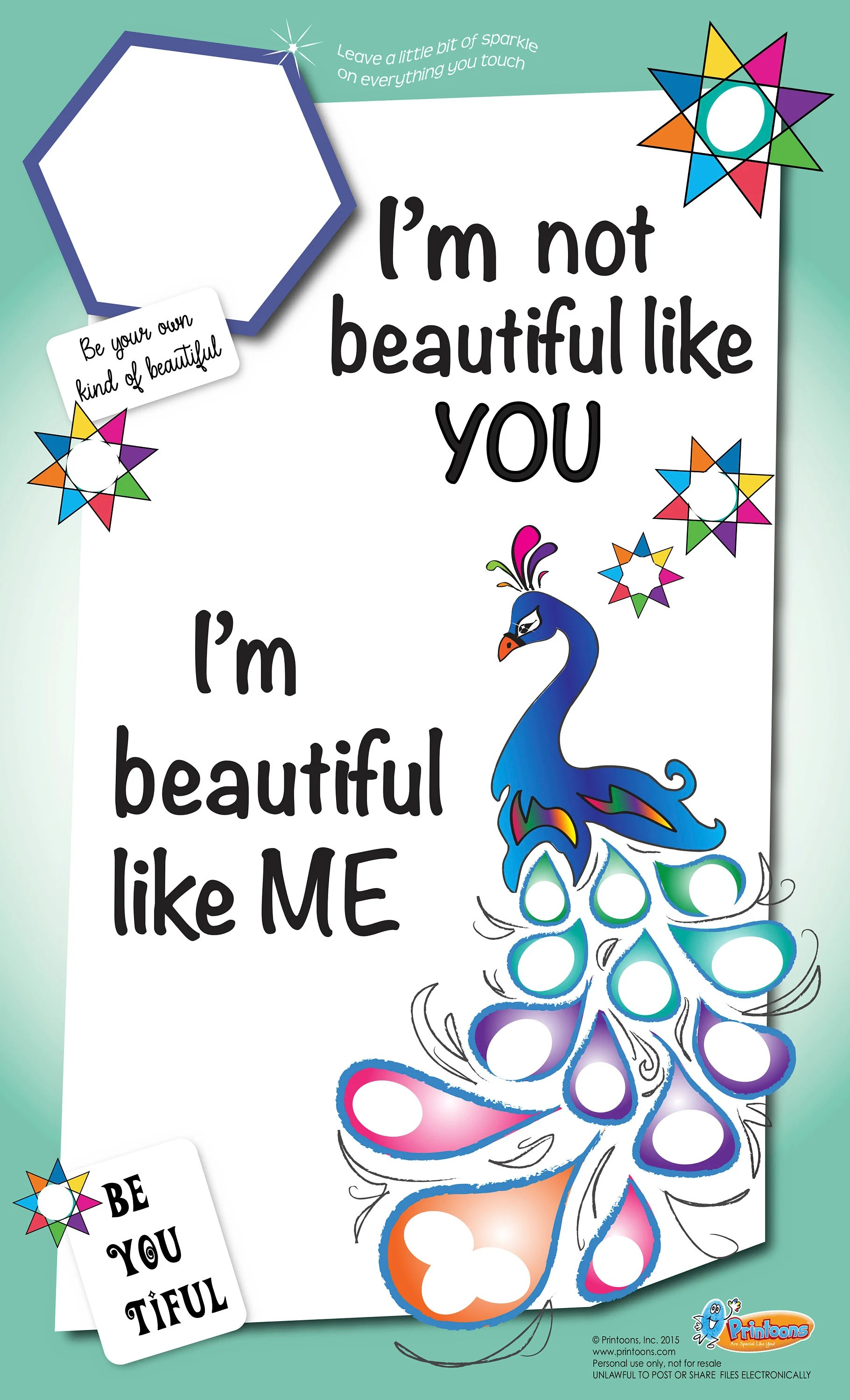 Peacock Fingerprint Art Poster Self Esteem Worksheet
