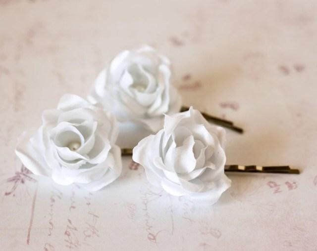 white rose hair clip hair clips wedding hair clips hair accessories roses flower hair clips hair clips bobby pins roses hair clips # 72