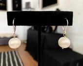 Simple White Pearl Earrings