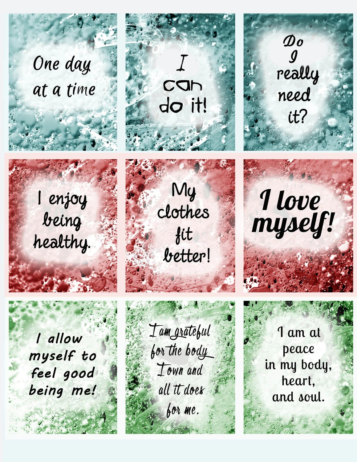 Affirmations Weight Loss Help Instant Download Printable