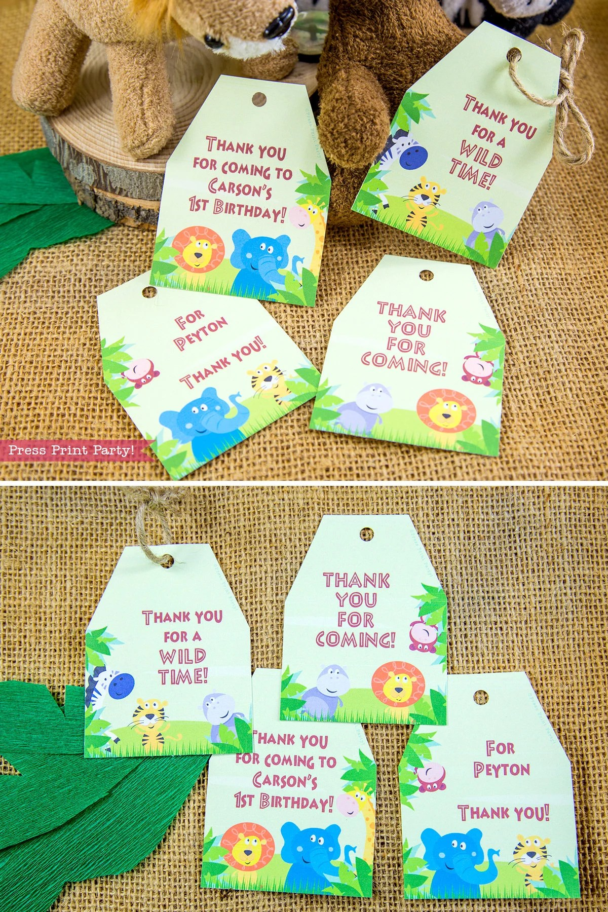 Jungle Safari Favortags Printables Jungle Favor Tags Thank