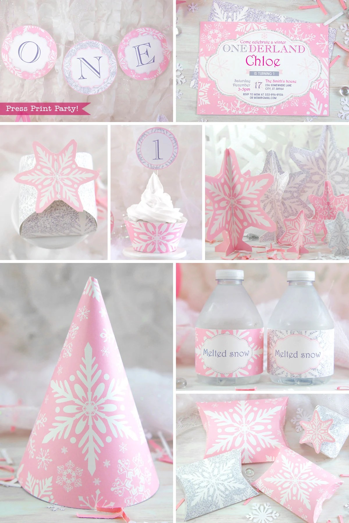 Winter Onederland Birthday Decorations Printable Package Pink Etsy