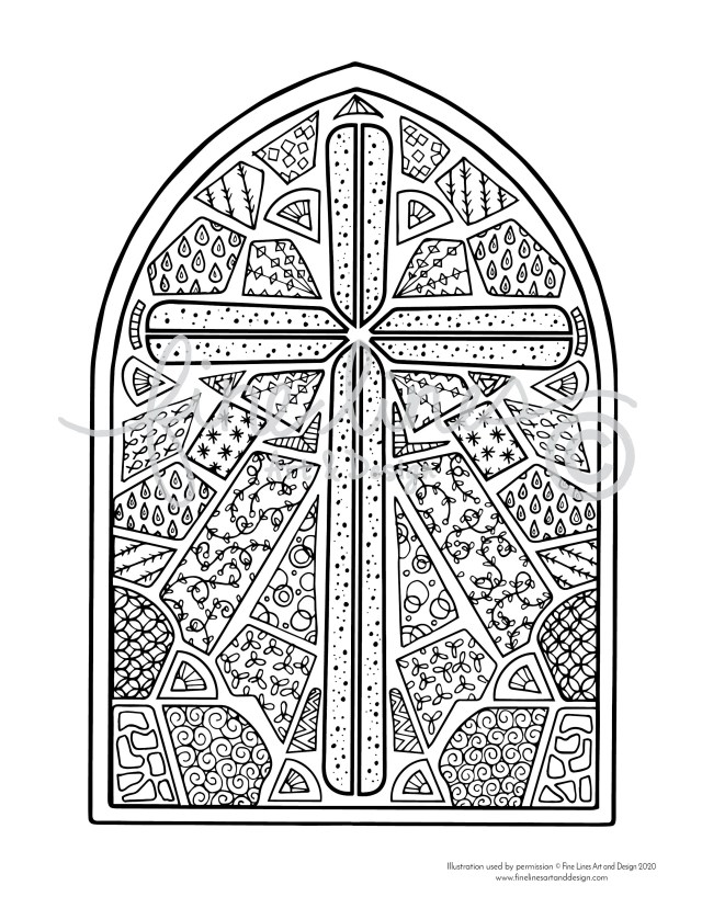 Stained Glass Cross Large 11x11 Coloring Poster PLUS 11.11x11 Coloring Page  (Digital Download)