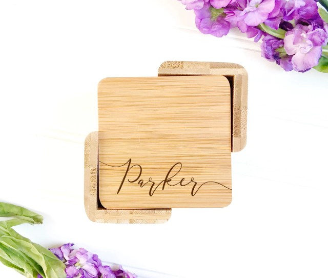 Last Name Coasters Personalized Coaster Set Engraved Coasters Custom Wedding Gift Engagement Present Th Anniversary Gift Wood Decor