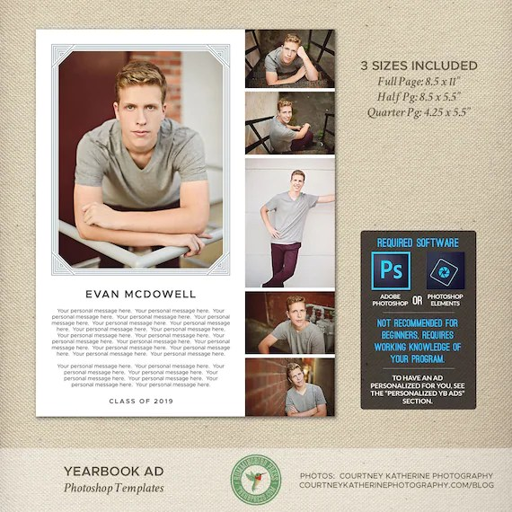Senior Yearbook Ad Photoshop Templates Graduation Ad High School College Tribute Dedication Memory Page Full Page Half 2019 Y8