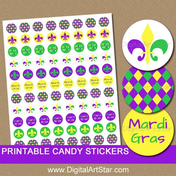 Mardi Gras Candy Stickers Printable Mardi Gras Stickers Diy Party Favors Mardi Gras Birthday Idea Candy Labels Instant Download M1