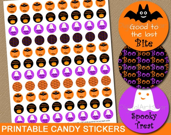 Printable Halloween Party Favors Diy Candy Stickers Halloween Candy Labels Chocolate Stickers Halloween Candy Buffet Instant Downlaod