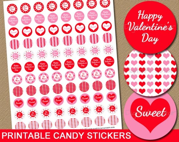 Valentines Day Candy Stickers Diy Printable Chocolate Stickers Party Favors Red And Pink Instant Download Valentines Day Gift