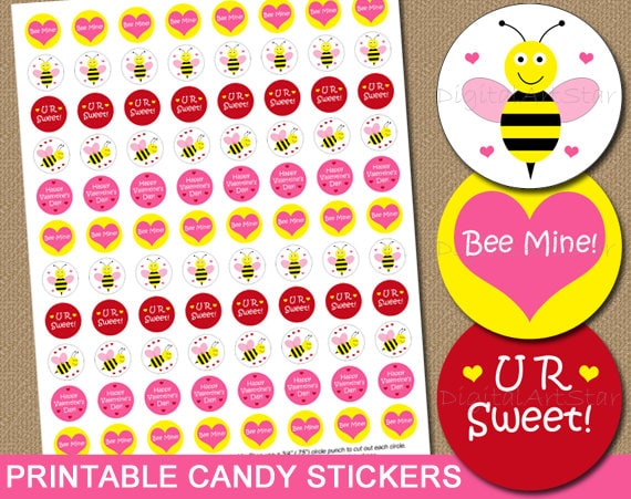 Valentines Day Candy Labels Printable Candy Stickers Diy Cute Party Favors Chocolate Labels Bumble Bee Bee Mine Instant Download