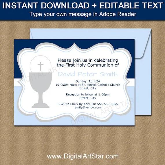 first communion invitation instant