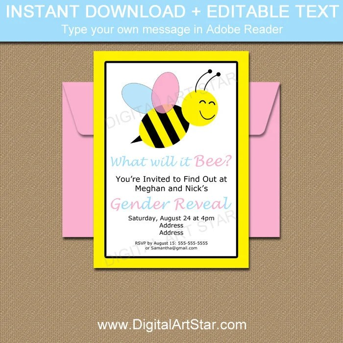 What Will It Bee Gender Reveal Invitation Template Instant