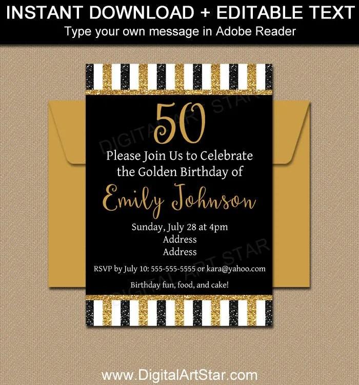 printable 50th birthday invitation template glitter invitation template editable birthday invite milestone anniversary invite b4