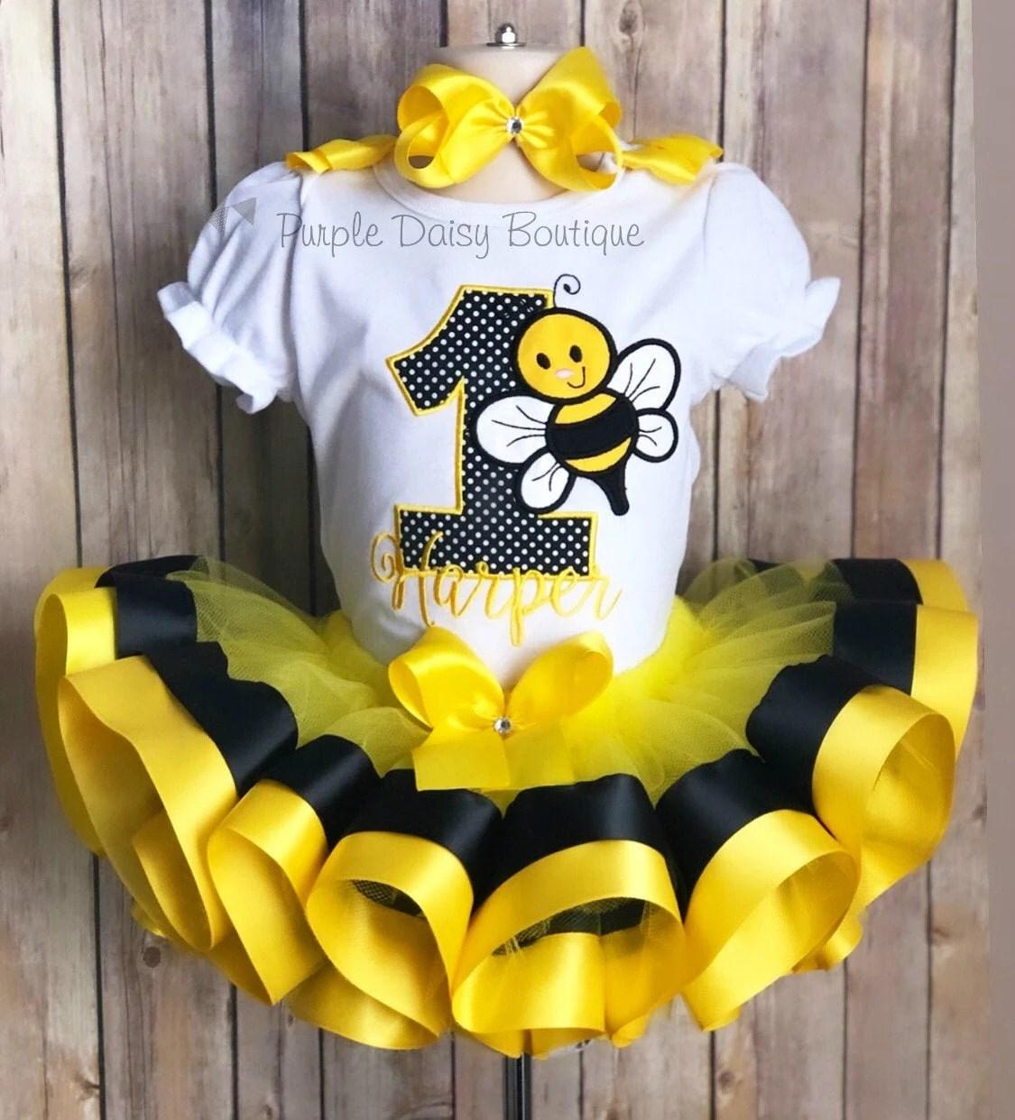 Bumble Bee First Birthday Tutu Outfit Bee Birthday Tutu Set Etsy
