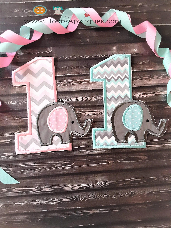Baby Elephant First Birthday Iron On Applique Number Elephant Themed 1st Birthday Party Iron On Patch Peanut Elephant Theme 1st Birthday