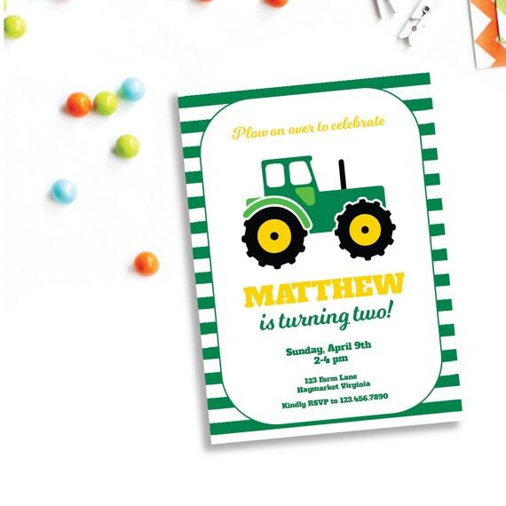 green tractor birthday invitation 5x7